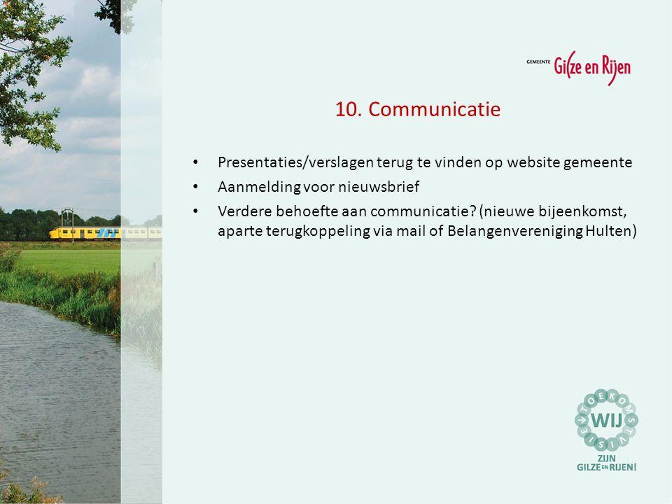 10.Communicatie Presentaties/verslagen terug te vinden op website gemeente Aanmelding voor nieuwsbrief Verdere behoefte aan communicatie.