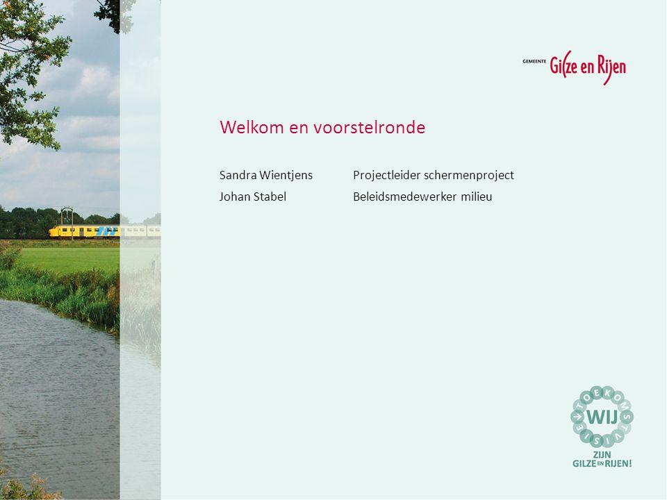 Welkom en voorstelronde Sandra WientjensProjectleider schermenproject Johan StabelBeleidsmedewerker milieu
