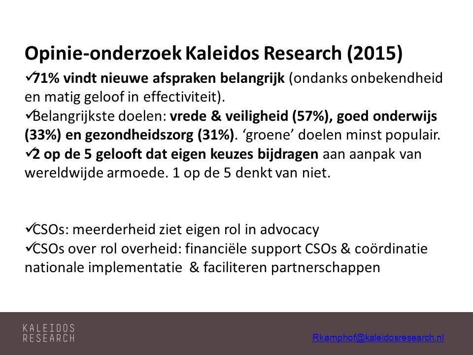 Rkamphof@kaleidosresearch.nl Opinie-onderzoek Kaleidos Research (2015) 71% vindt nieuwe afspraken belangrijk (ondanks onbekendheid en matig geloof in effectiviteit).