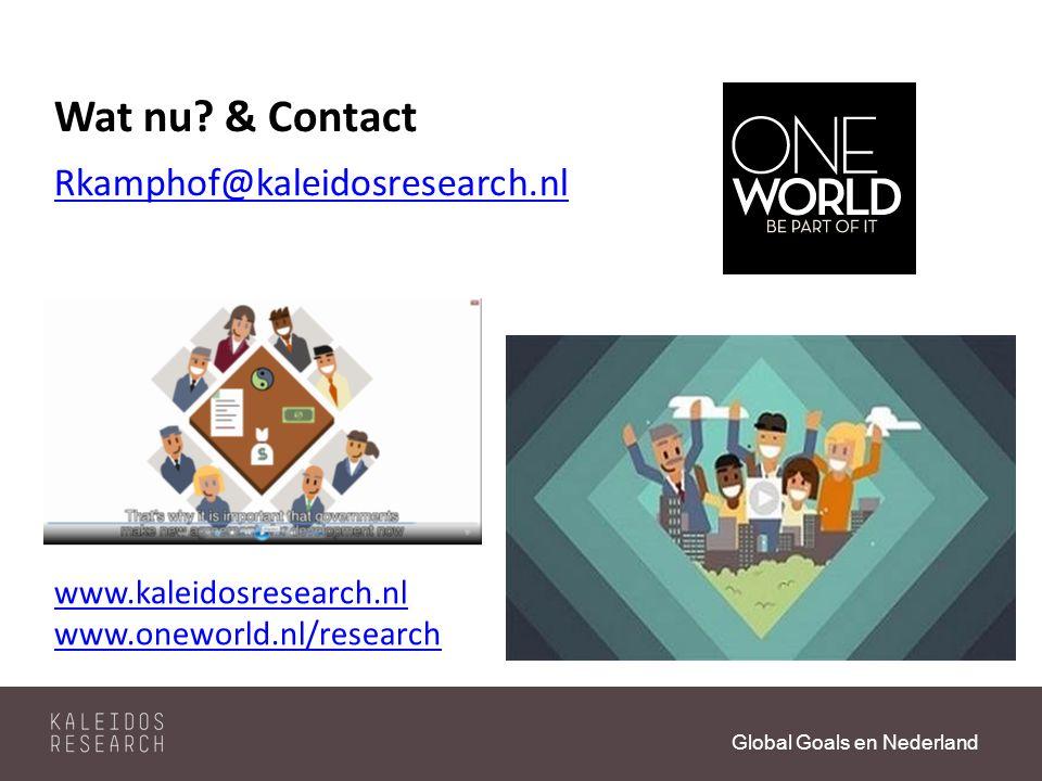 Global Goals en Nederland Wat nu.