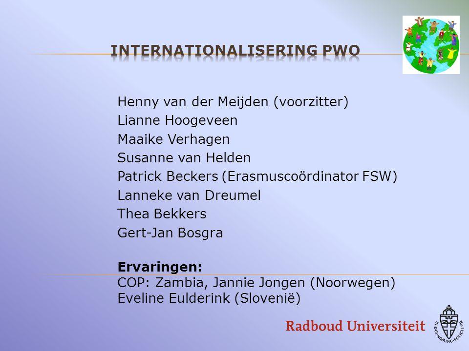 Henny van der Meijden (voorzitter) Lianne Hoogeveen Maaike Verhagen Susanne van Helden Patrick Beckers (Erasmuscoördinator FSW) Lanneke van Dreumel Thea Bekkers Gert-Jan Bosgra Ervaringen: COP: Zambia, Jannie Jongen (Noorwegen) Eveline Eulderink (Slovenië)