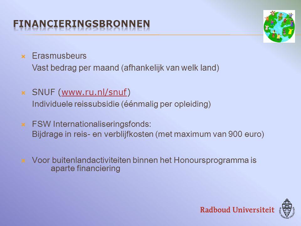  Erasmusbeurs Vast bedrag per maand (afhankelijk van welk land)  SNUF (www.ru.nl/snuf)www.ru.nl/snuf Individuele reissubsidie (éénmalig per opleiding)  FSW Internationaliseringsfonds: Bijdrage in reis- en verblijfkosten (met maximum van 900 euro)  Voor buitenlandactiviteiten binnen het Honoursprogramma is aparte financiering