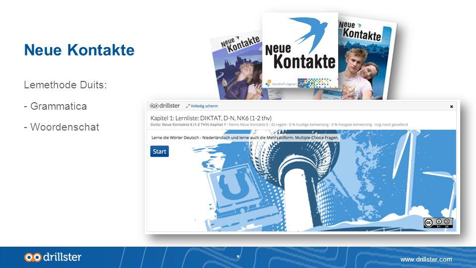 Neue Kontakte www.drillster.com * Lemethode Duits: - Grammatica - Woordenschat