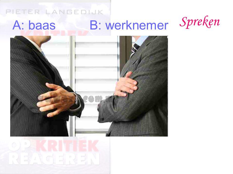Spreken A: baasB: werknemer