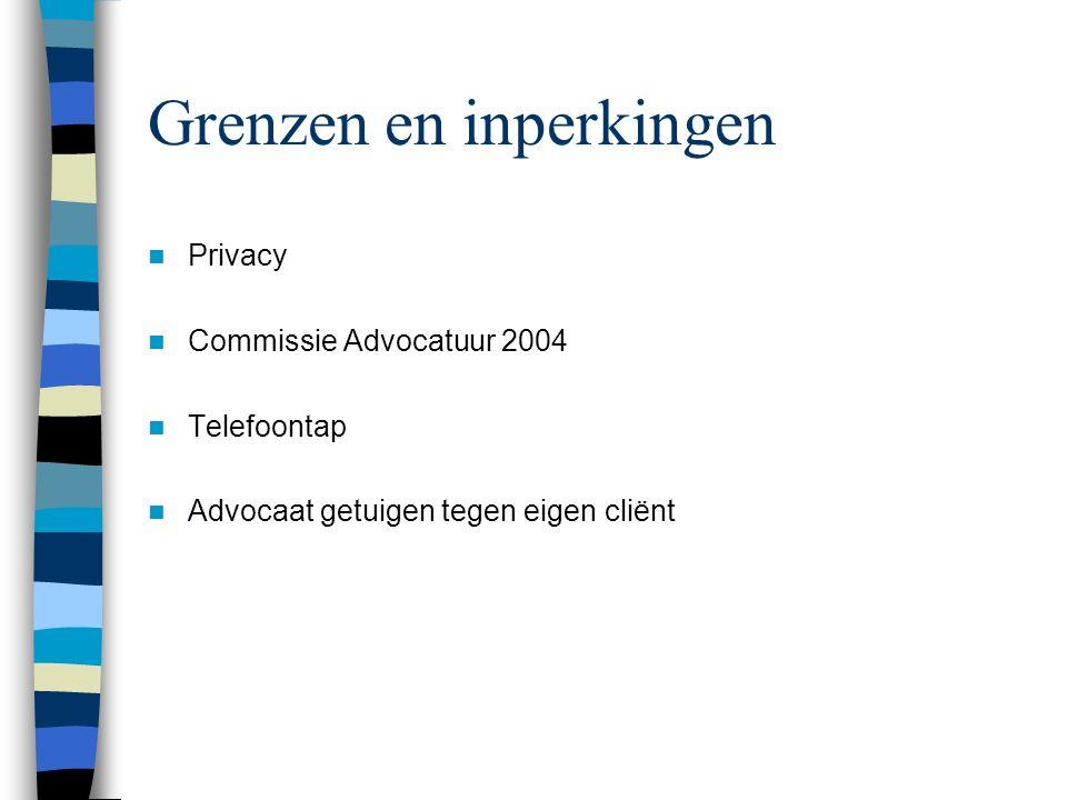 Grenzen en inperkingen Privacy Commissie Advocatuur 2004 Telefoontap Advocaat getuigen tegen eigen cliënt