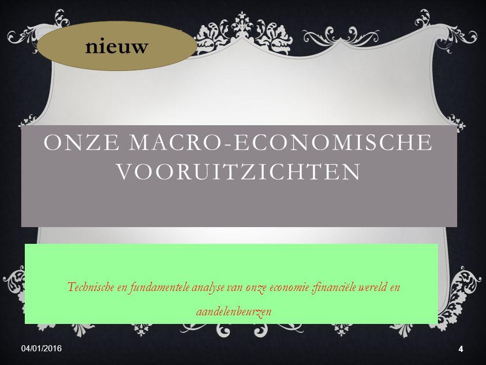 04/01/2016 4 ONZE MACRO-ECONOMISCHE VOORUITZICHTEN Technische en fundamentele analyse van onze economie ;financiële wereld en aandelenbeurzen nieuw