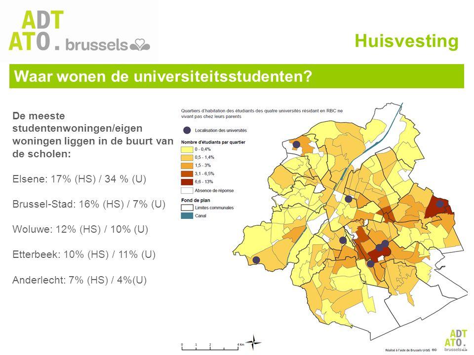 De meeste studentenwoningen/eigen woningen liggen in de buurt van de scholen: Elsene: 17% (HS) / 34 % (U) Brussel-Stad: 16% (HS) / 7% (U) Woluwe: 12%