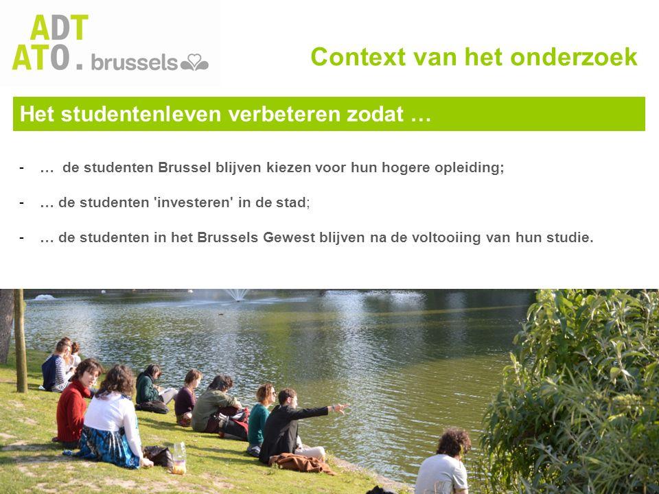 Het studentenleven verbeteren zodat … -… de studenten Brussel blijven kiezen voor hun hogere opleiding; -… de studenten 'investeren' in de stad; -… de