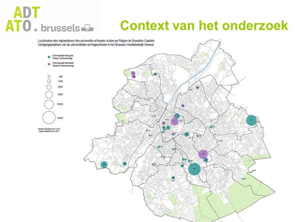 Twee belangrijke doelstellingen Nauwkeurige kennis van de huidige situatie van de studenten in Brussel door: -het in kaart brengen van het huidige gebruik en de behoeften aan stedelijke voorzieningen, vooral op het vlak van huisvesting, mobiliteit, consumptie, vrijetijdsaanbod en werkgelegenheid; -het geven van een geterritorialiseerde visie van dit gebruik.