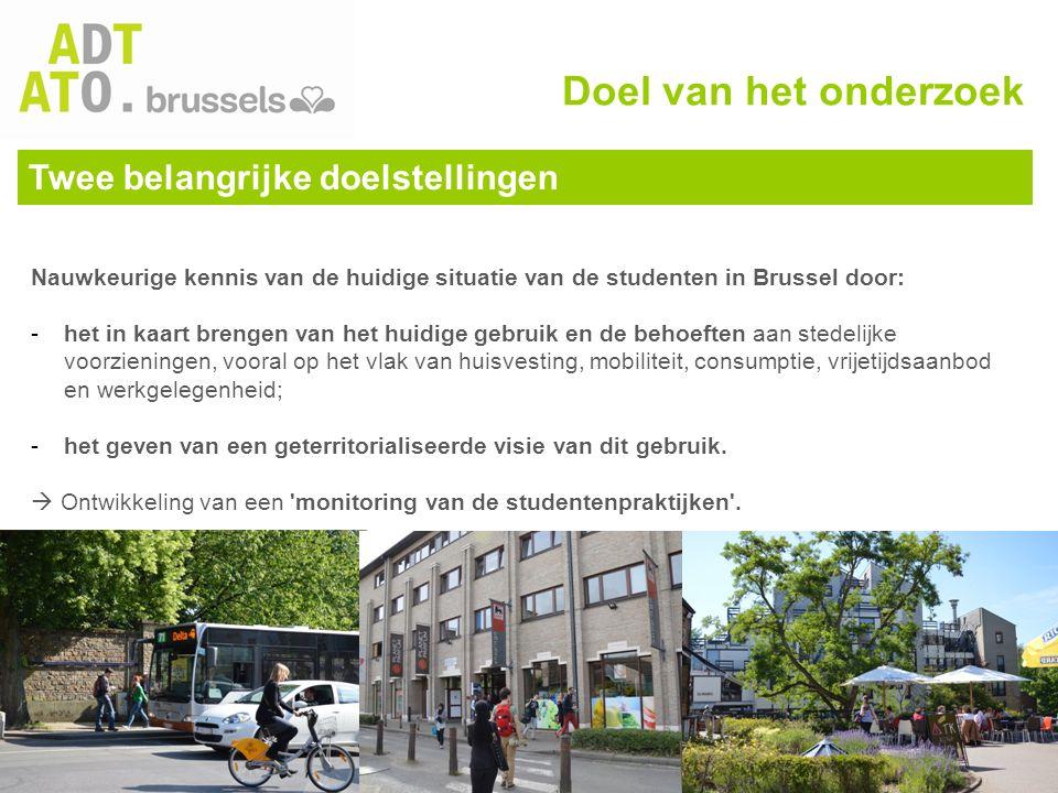 Twee belangrijke doelstellingen Nauwkeurige kennis van de huidige situatie van de studenten in Brussel door: -het in kaart brengen van het huidige geb