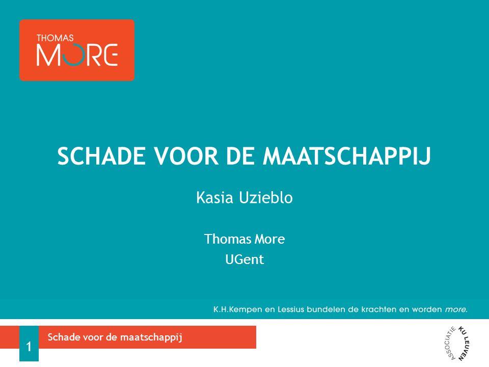 Kasia Uzieblo Thomas More UGent SCHADE VOOR DE MAATSCHAPPIJ Schade voor de maatschappij 1