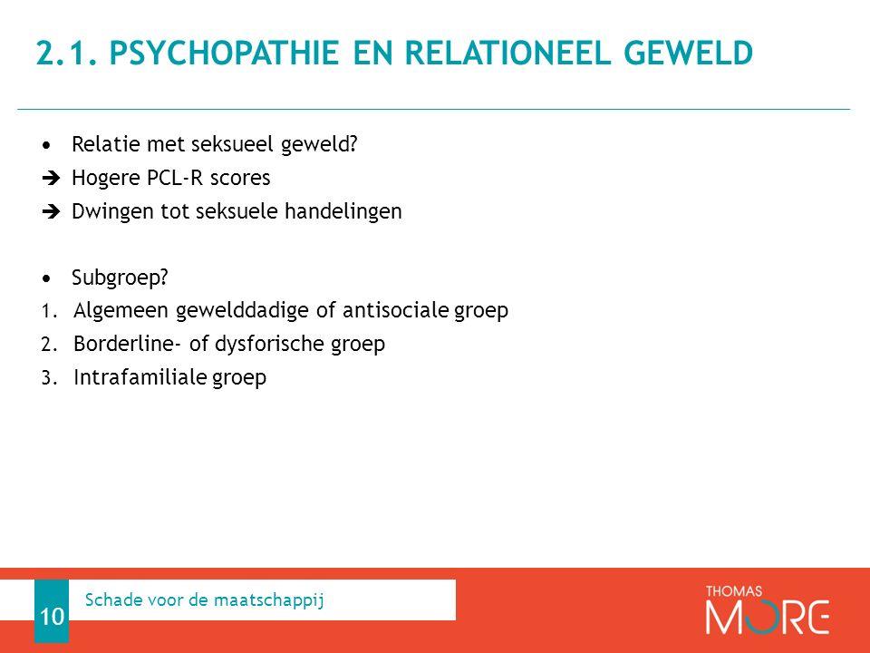 Relatie met seksueel geweld. Hogere PCL-R scores  Dwingen tot seksuele handelingen Subgroep.