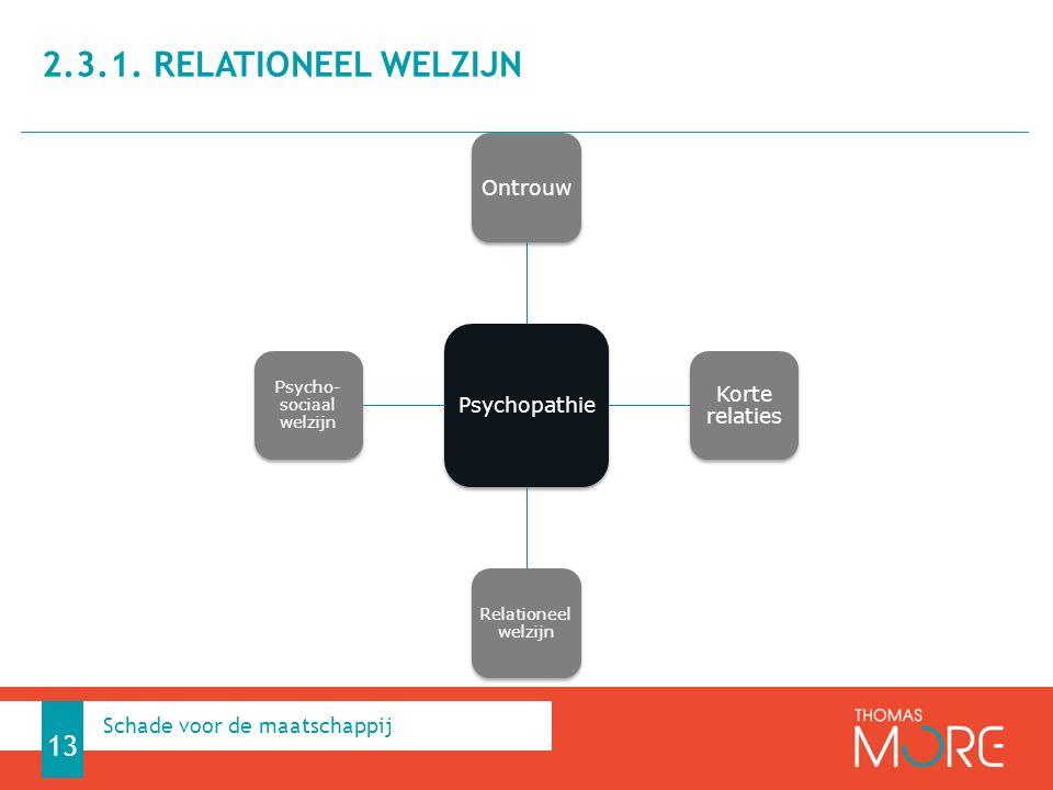 Psychopathie Ontrouw Korte relaties Relationeel welzijn Psycho- sociaal welzijn 2.3.1. RELATIONEEL WELZIJN 13 Schade voor de maatschappij