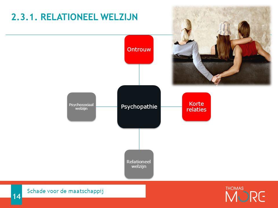 Psychopathie Ontrouw Korte relaties Relationeel welzijn Psychosociaal welzijn 2.3.1. RELATIONEEL WELZIJN 14 Schade voor de maatschappij