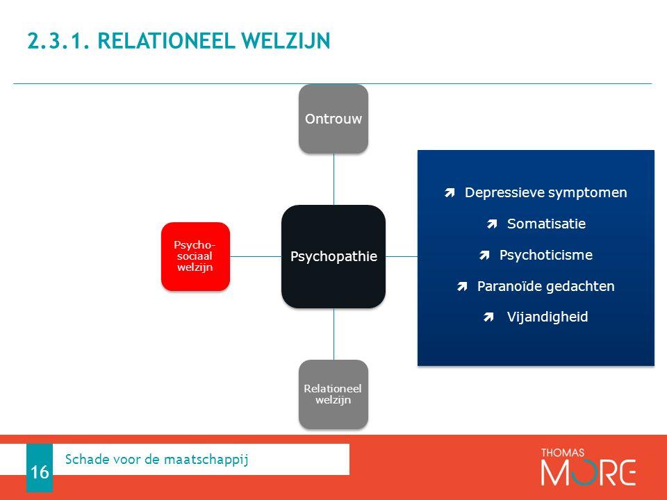 Psychopathie Ontrouw Korte relaties Relationeel welzijn Psycho- sociaal welzijn 2.3.1. RELATIONEEL WELZIJN 16 Schade voor de maatschappij  Depressiev