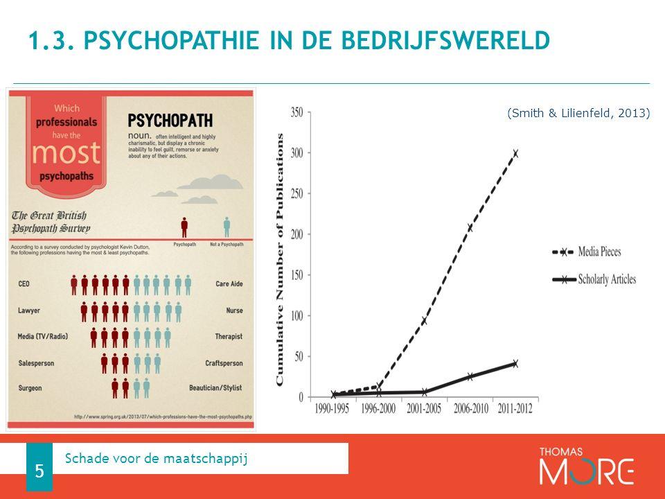 5 Schade voor de maatschappij 1.3. PSYCHOPATHIE IN DE BEDRIJFSWERELD (Smith & Lilienfeld, 2013)