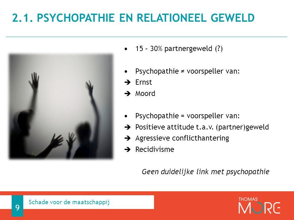 15 – 30% partnergeweld (?) Psychopathie ≠ voorspeller van:  Ernst  Moord Psychopathie = voorspeller van:  Positieve attitude t.a.v. (partner)geweld
