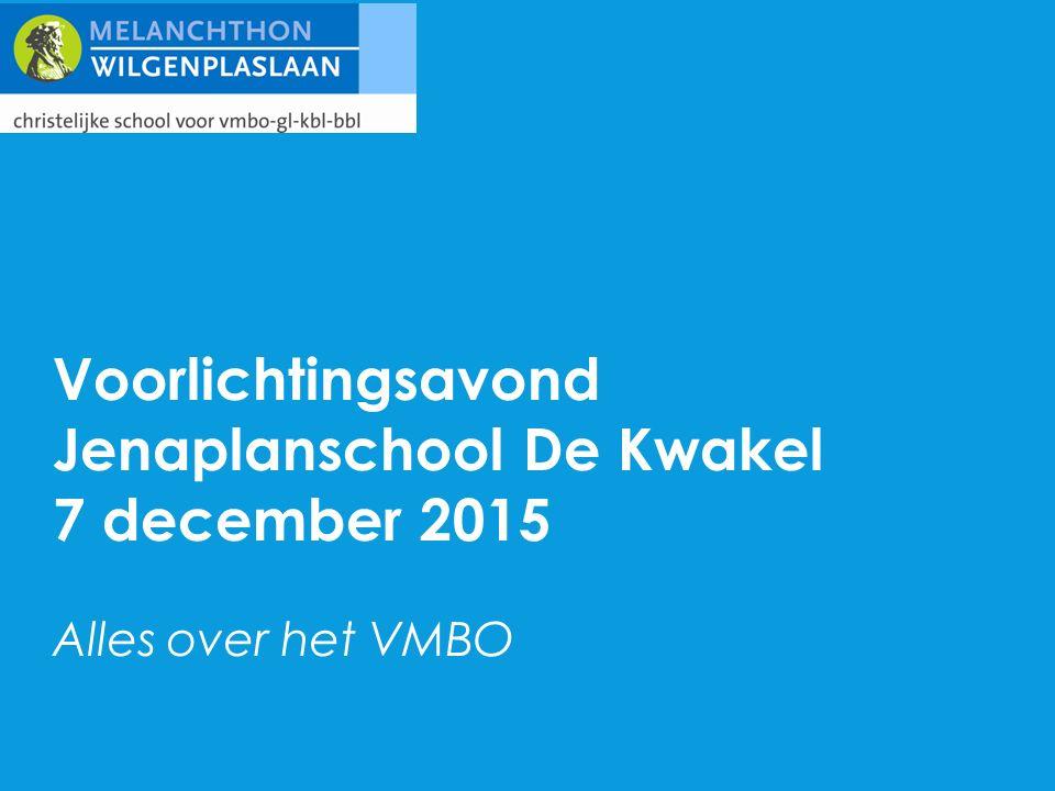 Voorlichtingsavond Jenaplanschool De Kwakel 7 december 2015 Alles over het VMBO