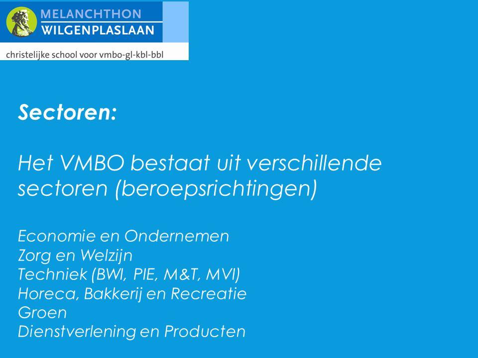 Sectoren: Het VMBO bestaat uit verschillende sectoren (beroepsrichtingen) Economie en Ondernemen Zorg en Welzijn Techniek (BWI, PIE, M&T, MVI) Horeca, Bakkerij en Recreatie Groen Dienstverlening en Producten