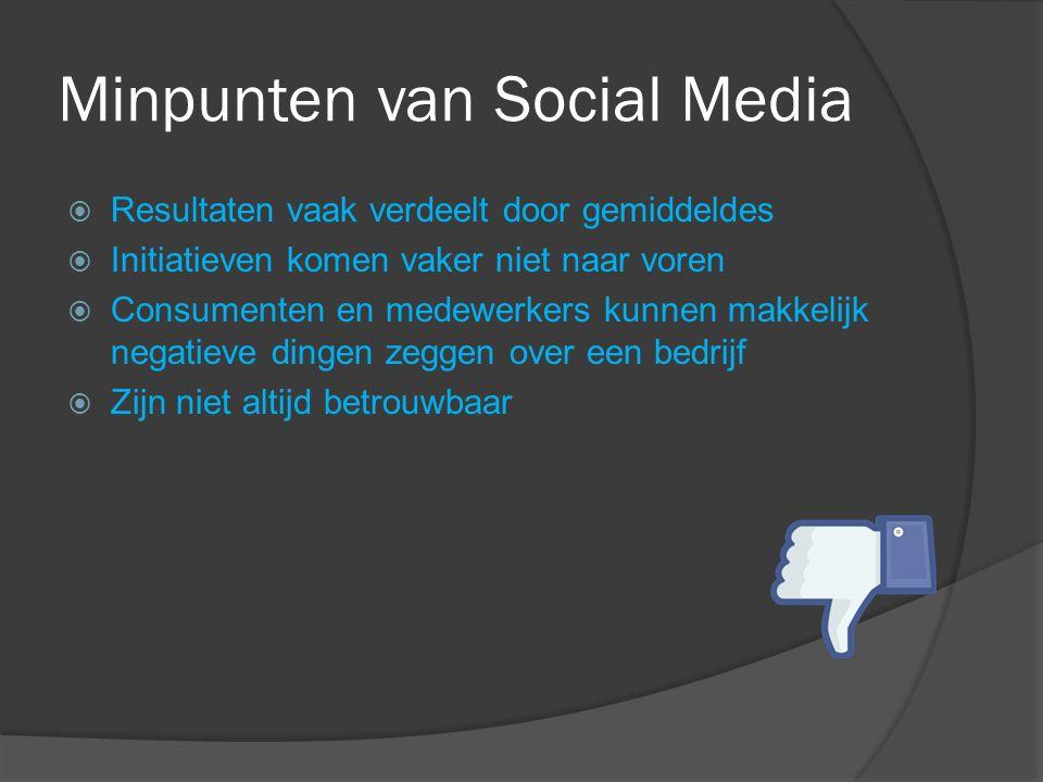 Minpunten van Social Media  Resultaten vaak verdeelt door gemiddeldes  Initiatieven komen vaker niet naar voren  Consumenten en medewerkers kunnen