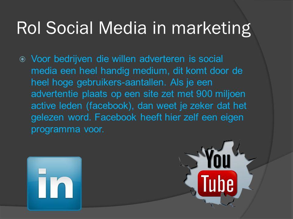 Rol Social Media in marketing  Voor bedrijven die willen adverteren is social media een heel handig medium, dit komt door de heel hoge gebruikers-aantallen.