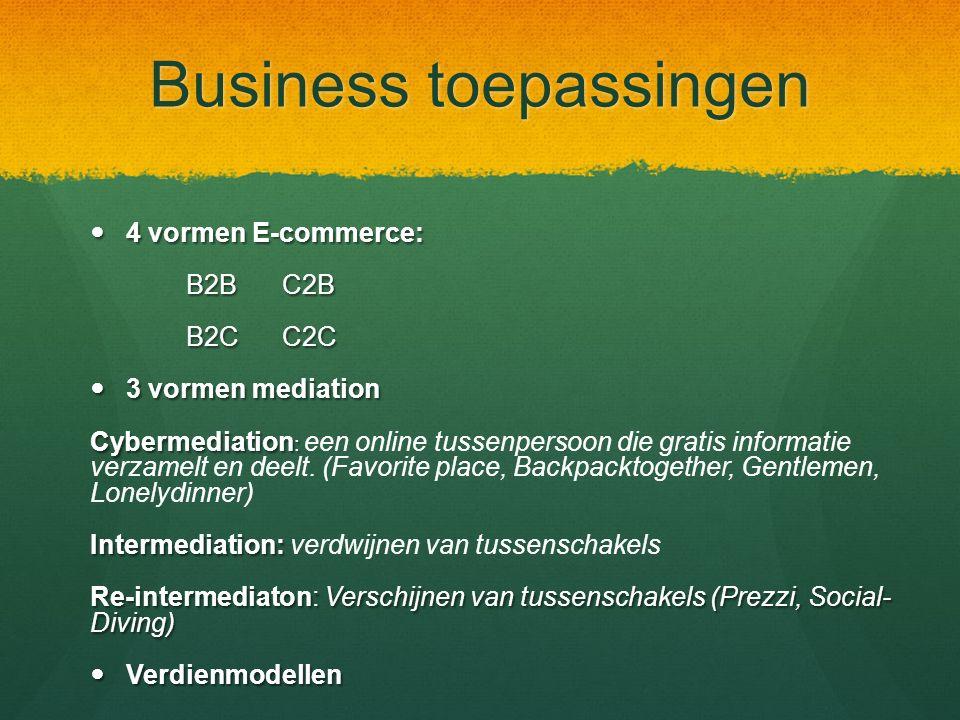 Business toepassingen 4 vormen E-commerce: 4 vormen E-commerce: B2BC2B B2CC2C 3 vormen mediation 3 vormen mediation Cybermediation : Cybermediation : een online tussenpersoon die gratis informatie verzamelt en deelt.