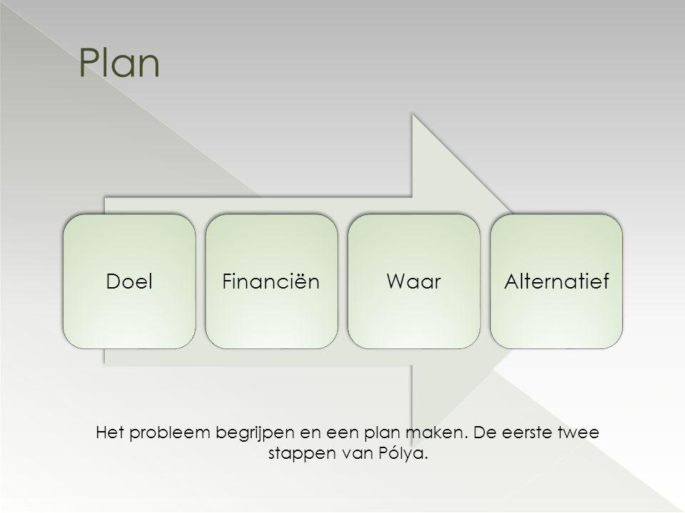 DoelFinanciënWaarAlternatief Plan Het probleem begrijpen en een plan maken. De eerste twee stappen van Pólya.