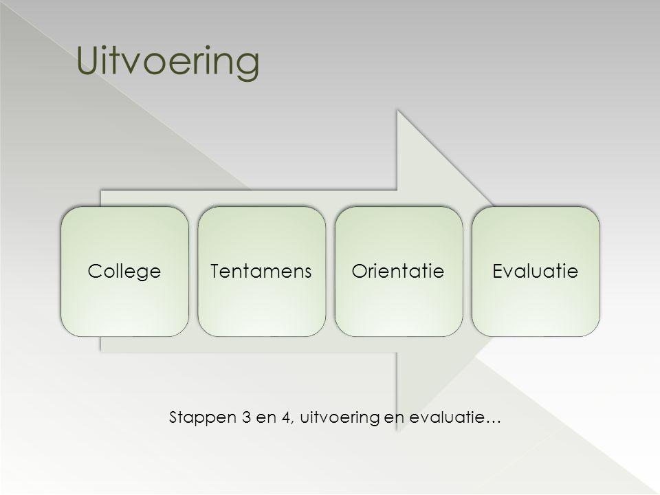 CollegeTentamensOrientatieEvaluatie Uitvoering Stappen 3 en 4, uitvoering en evaluatie…