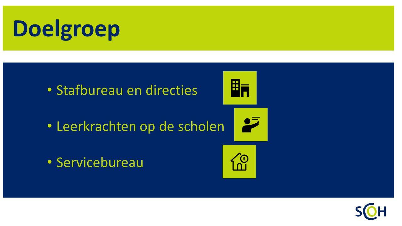 Doelgroep Stafbureau en directies Leerkrachten op de scholen Servicebureau