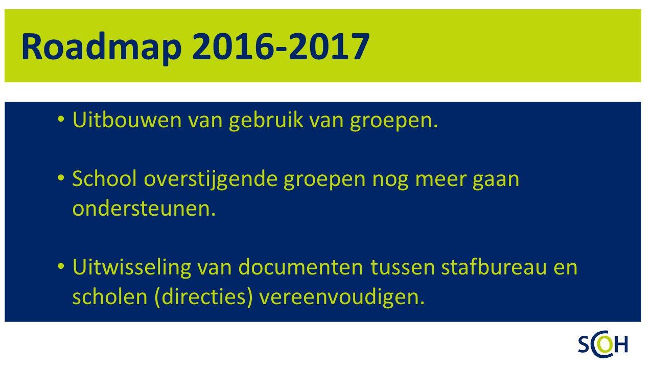 Roadmap 2016-2017 Uitbouwen van gebruik van groepen. School overstijgende groepen nog meer gaan ondersteunen. Uitwisseling van documenten tussen stafb