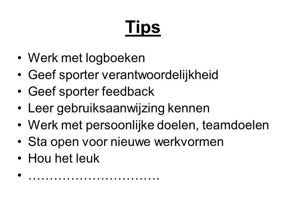 Tips Werk met logboeken Geef sporter verantwoordelijkheid Geef sporter feedback Leer gebruiksaanwijzing kennen Werk met persoonlijke doelen, teamdoele