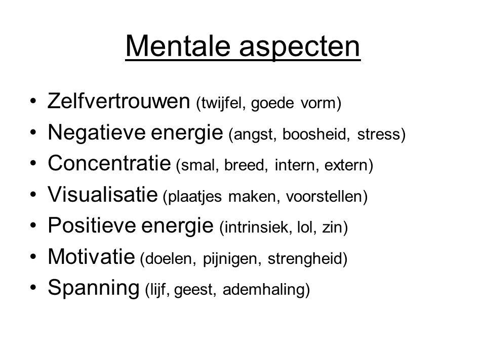 Mentale aspecten Zelfvertrouwen (twijfel, goede vorm) Negatieve energie (angst, boosheid, stress) Concentratie (smal, breed, intern, extern) Visualisatie (plaatjes maken, voorstellen) Positieve energie (intrinsiek, lol, zin) Motivatie (doelen, pijnigen, strengheid) Spanning (lijf, geest, ademhaling)