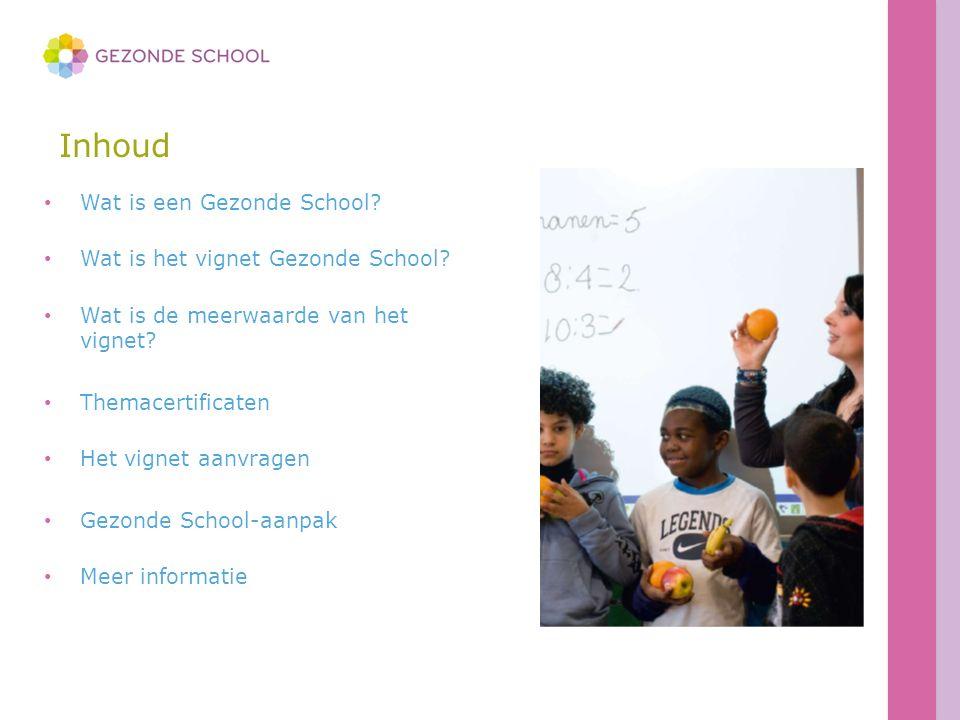 Inhoud Wat is een Gezonde School? Wat is het vignet Gezonde School? Wat is de meerwaarde van het vignet? Themacertificaten Het vignet aanvragen Gezond