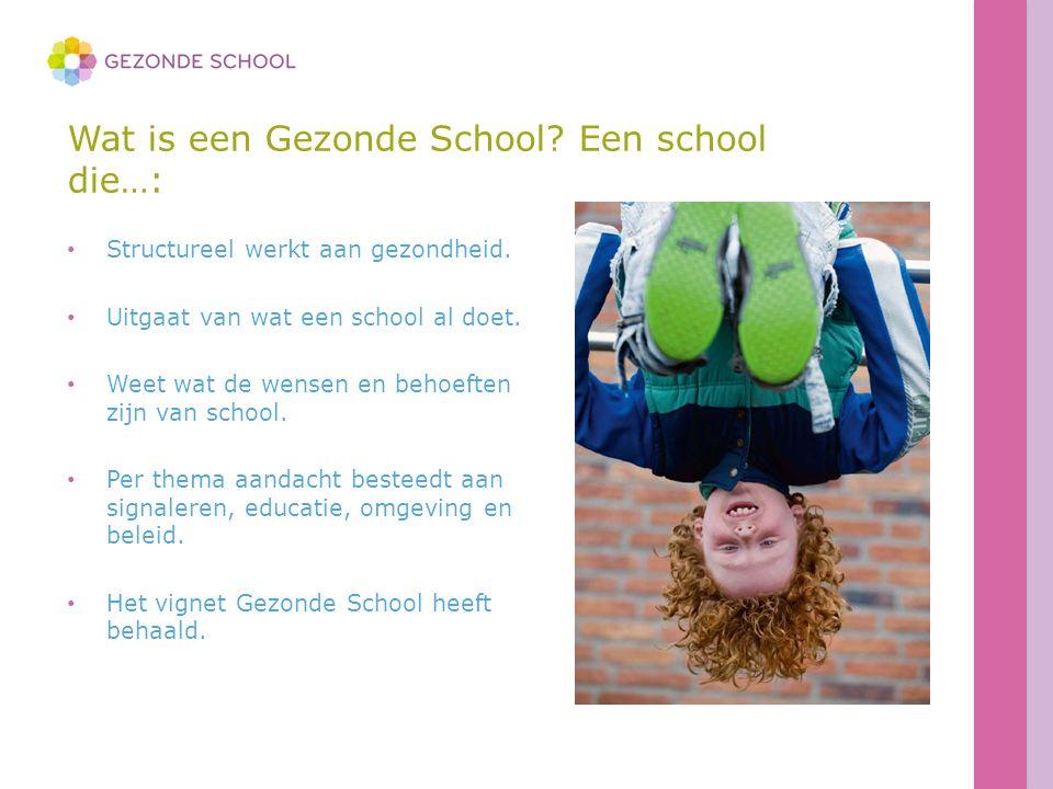 Wat is een Gezonde School? Een school die…: Structureel werkt aan gezondheid. Uitgaat van wat een school al doet. Weet wat de wensen en behoeften zijn