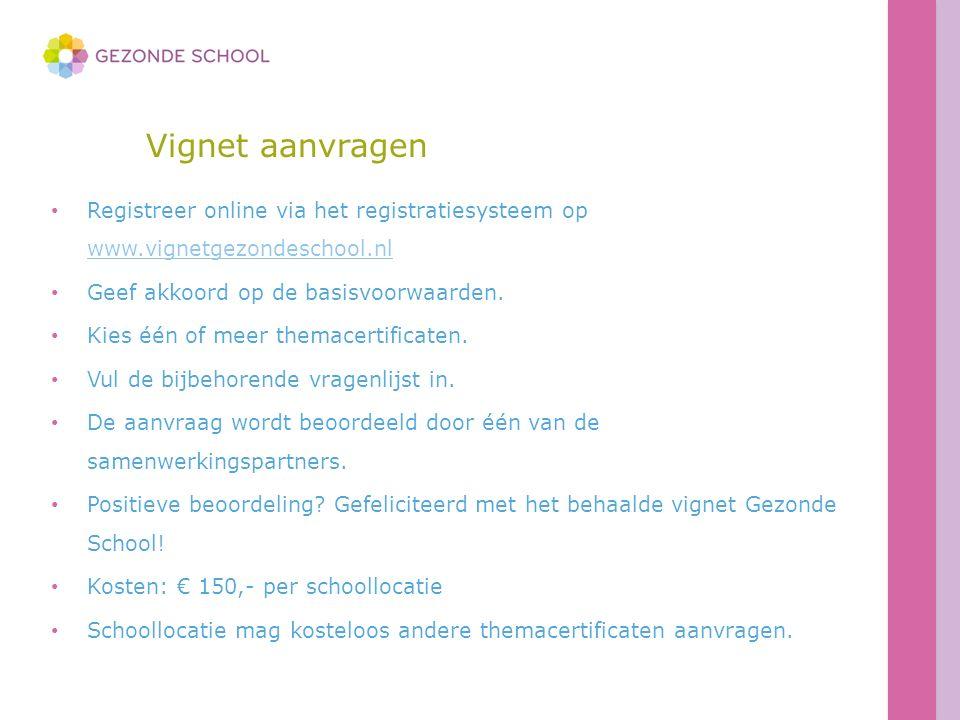 Vignet aanvragen Registreer online via het registratiesysteem op www.vignetgezondeschool.nl www.vignetgezondeschool.nl Geef akkoord op de basisvoorwaa
