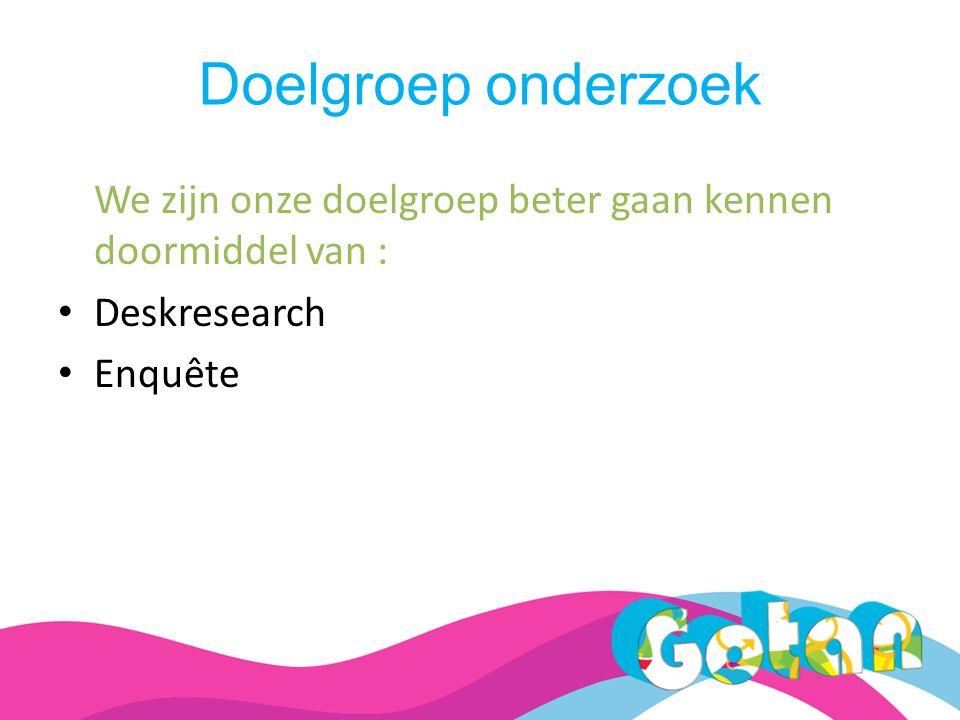 Doelgroep onderzoek We zijn onze doelgroep beter gaan kennen doormiddel van : Deskresearch Enquête