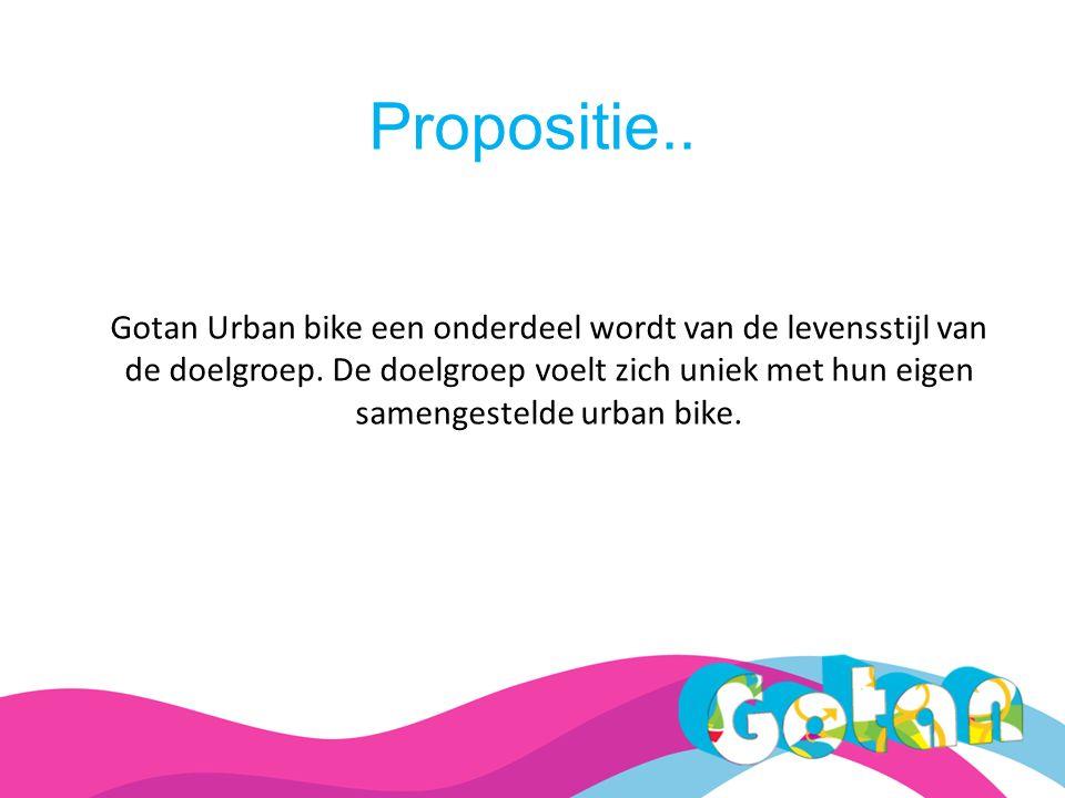 Propositie.. Gotan Urban bike een onderdeel wordt van de levensstijl van de doelgroep.