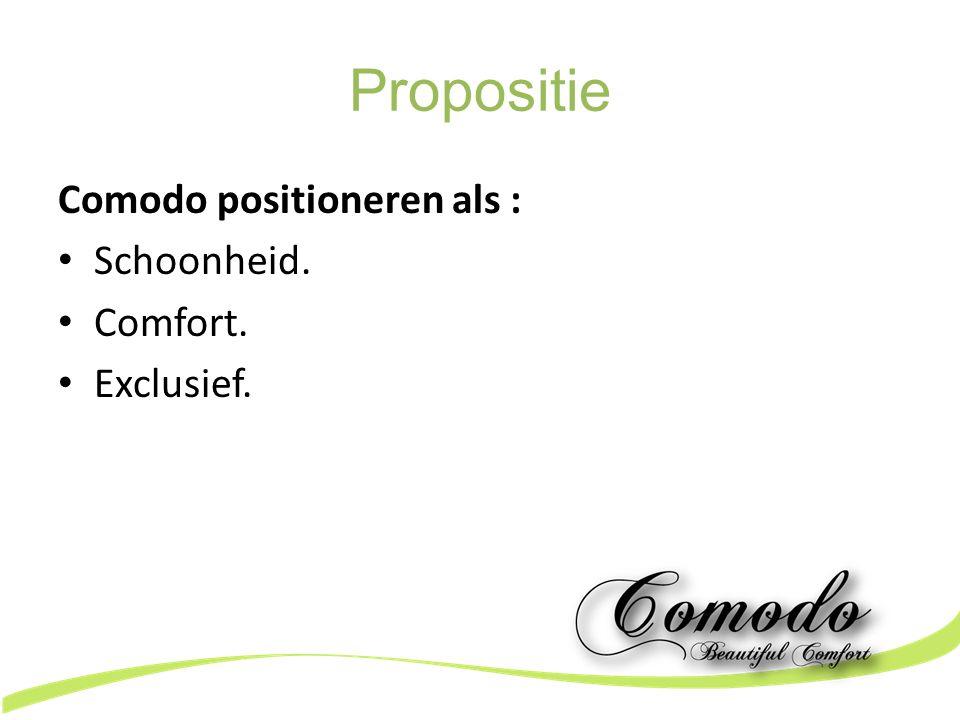 Propositie Comodo positioneren als : Schoonheid. Comfort. Exclusief.