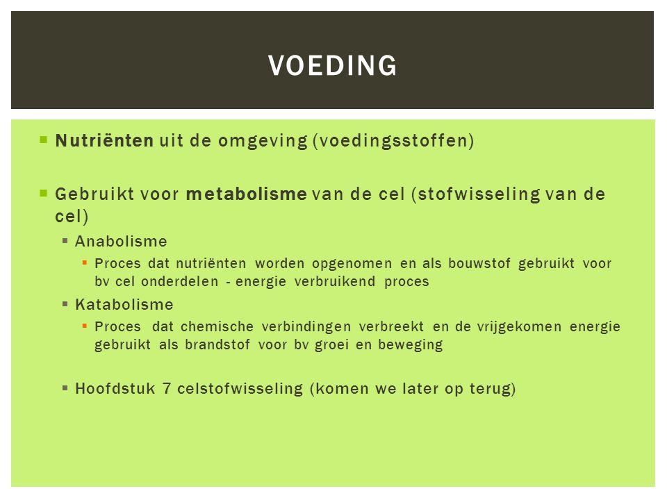  Nutriënten uit de omgeving (voedingsstoffen)  Gebruikt voor metabolisme van de cel (stofwisseling van de cel)  Anabolisme  Proces dat nutriënten