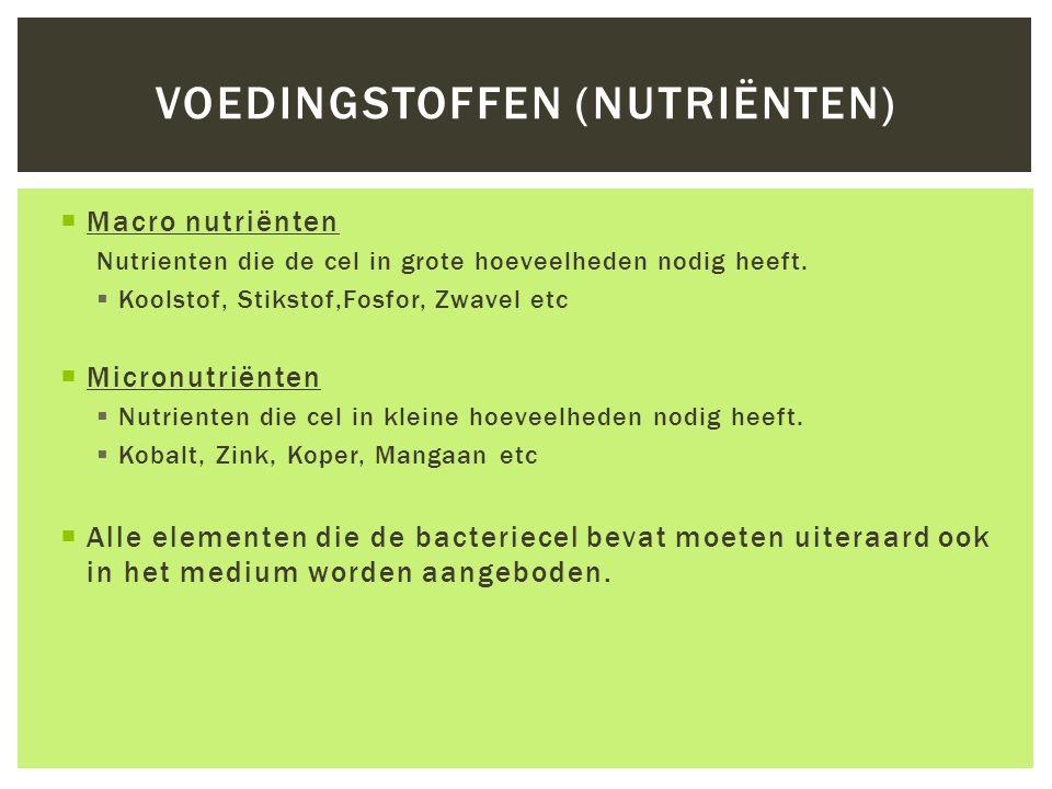  Macro nutriënten Nutrienten die de cel in grote hoeveelheden nodig heeft.  Koolstof, Stikstof,Fosfor, Zwavel etc  Micronutriënten  Nutrienten die