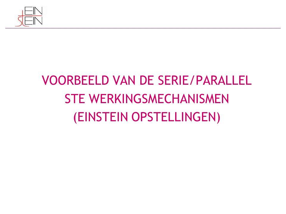 VOORBEELD VAN DE SERIE/PARALLEL STE WERKINGSMECHANISMEN (EINSTEIN OPSTELLINGEN)