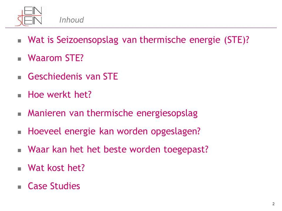 Inhoud Wat is Seizoensopslag van thermische energie (STE)? Waarom STE? Geschiedenis van STE Hoe werkt het? Manieren van thermische energiesopslag Hoev