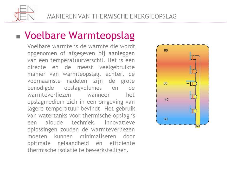Voelbare Warmteopslag Voelbare warmte is de warmte die wordt opgenomen of afgegeven bij aanleggen van een temperatuurverschil. Het is een directe en d
