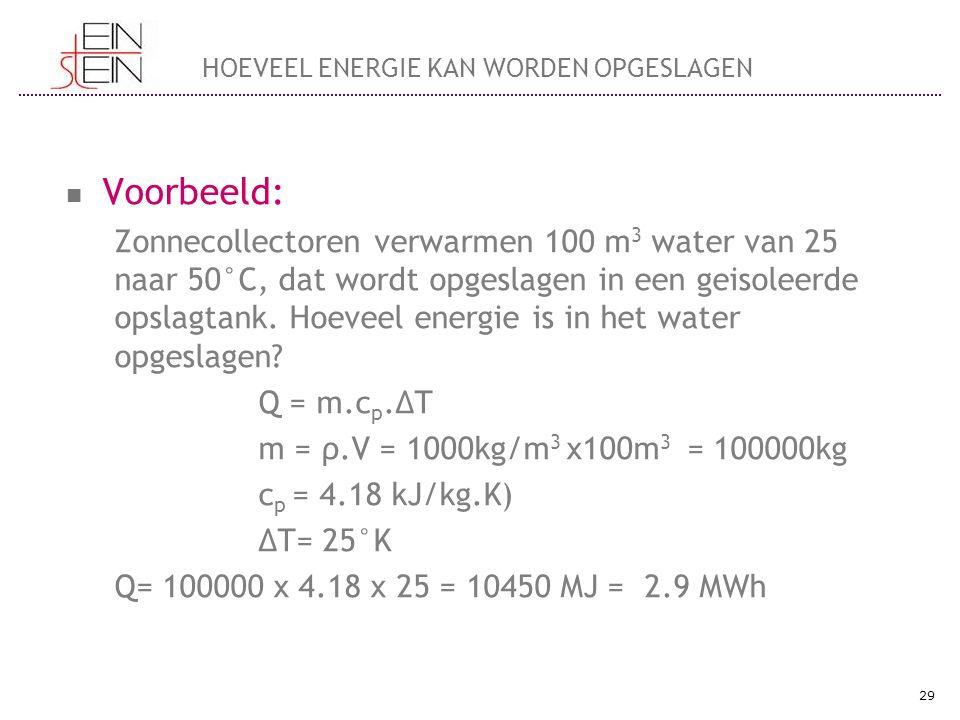 Voorbeeld: Zonnecollectoren verwarmen 100 m 3 water van 25 naar 50°C, dat wordt opgeslagen in een geisoleerde opslagtank. Hoeveel energie is in het wa