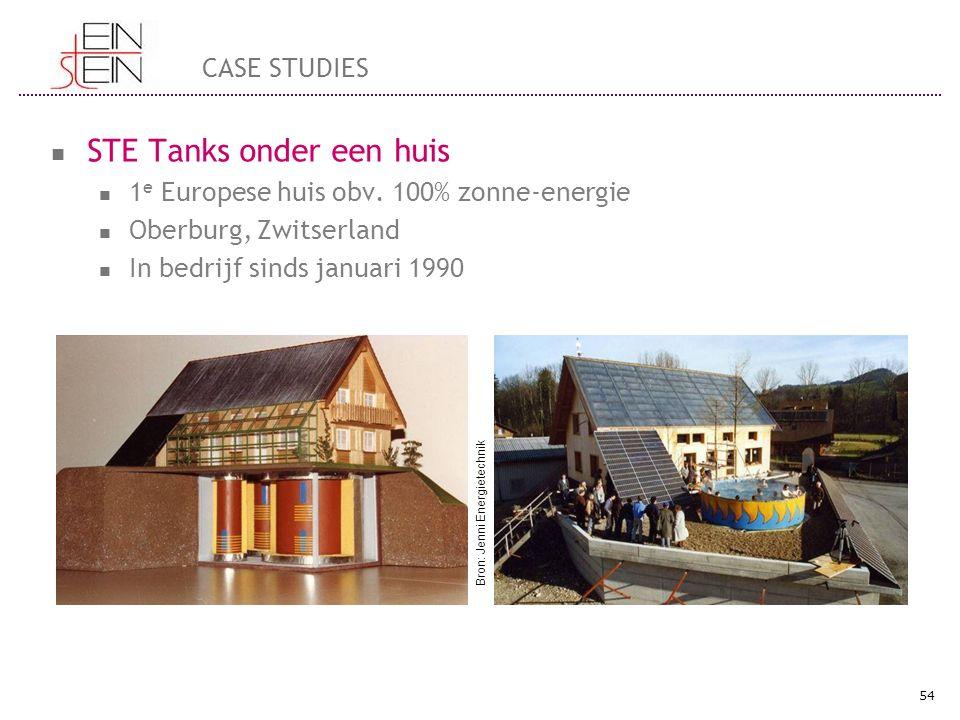 STE Tanks onder een huis 1 e Europese huis obv. 100% zonne-energie Oberburg, Zwitserland In bedrijf sinds januari 1990 54 CASE STUDIES Bron: Jenni Ene