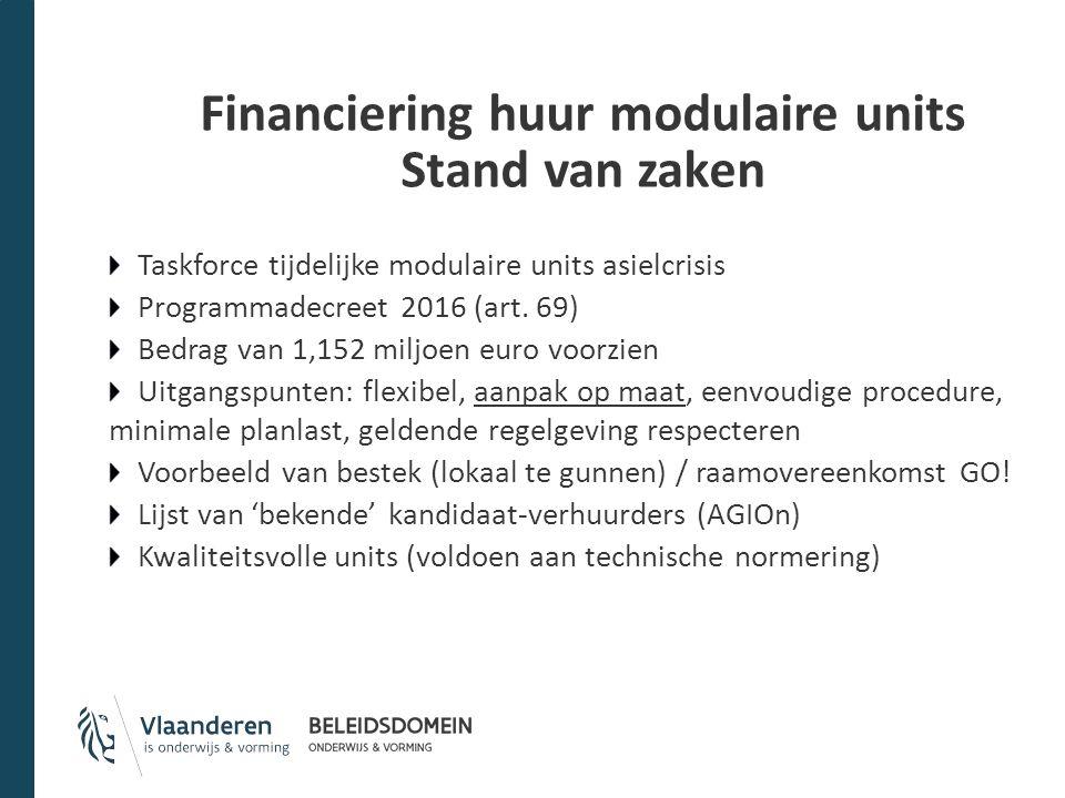 Financiering huur modulaire units Stand van zaken Taskforce tijdelijke modulaire units asielcrisis Programmadecreet 2016 (art. 69) Bedrag van 1,152 mi
