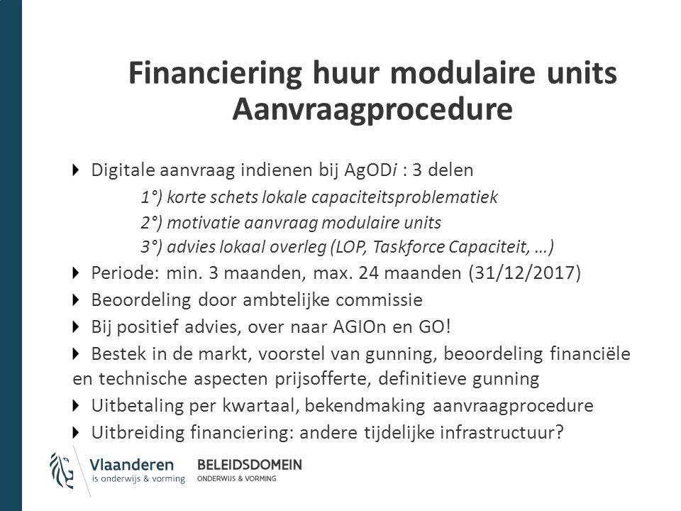 Financiering huur modulaire units Aanvraagprocedure Digitale aanvraag indienen bij AgODi : 3 delen 1°) korte schets lokale capaciteitsproblematiek 2°)