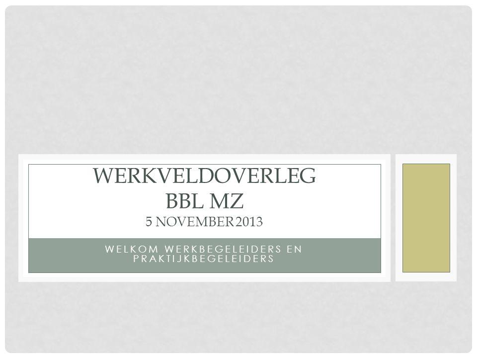 WELKOM WERKBEGELEIDERS EN PRAKTIJKBEGELEIDERS WERKVELDOVERLEG BBL MZ 5 NOVEMBER 2013