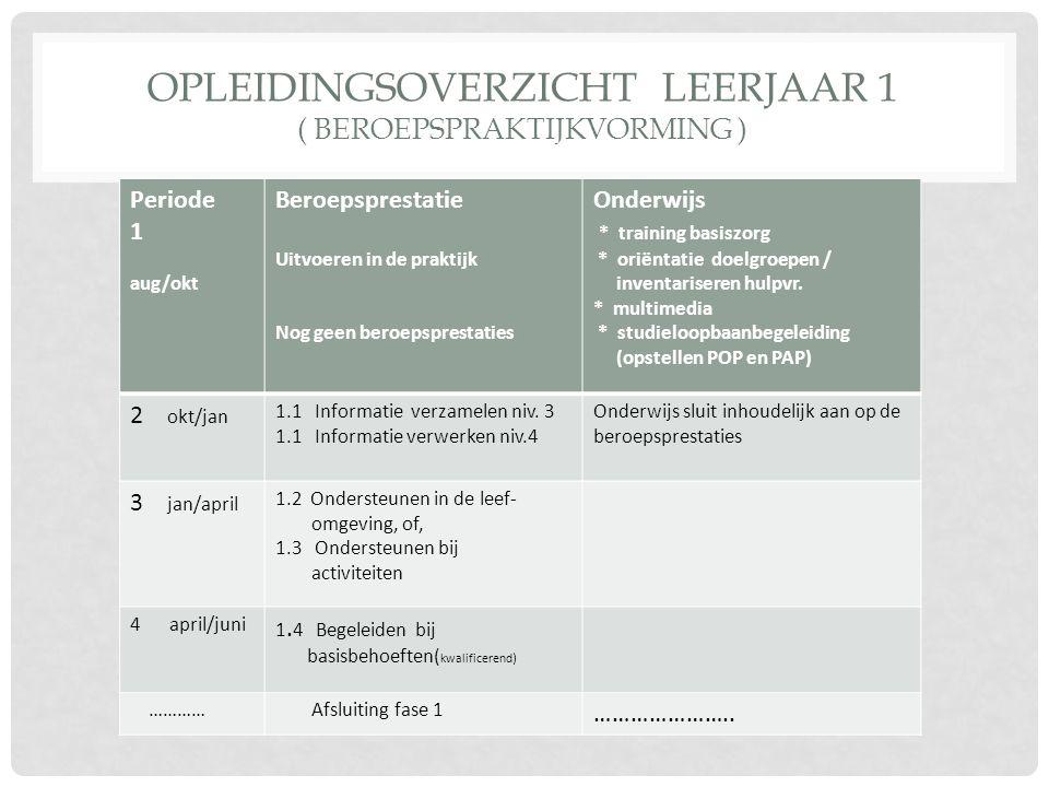 OPLEIDINGSOVERZICHT LEERJAAR 1 ( BEROEPSPRAKTIJKVORMING ) Periode 1 aug/okt Beroepsprestatie Uitvoeren in de praktijk Nog geen beroepsprestaties Onder