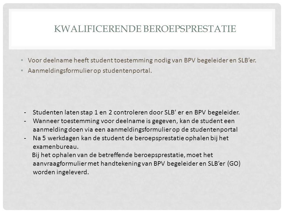 KWALIFICERENDE BEROEPSPRESTATIE Voor deelname heeft student toestemming nodig van BPV begeleider en SLB'er. Aanmeldingsformulier op studentenportal. -